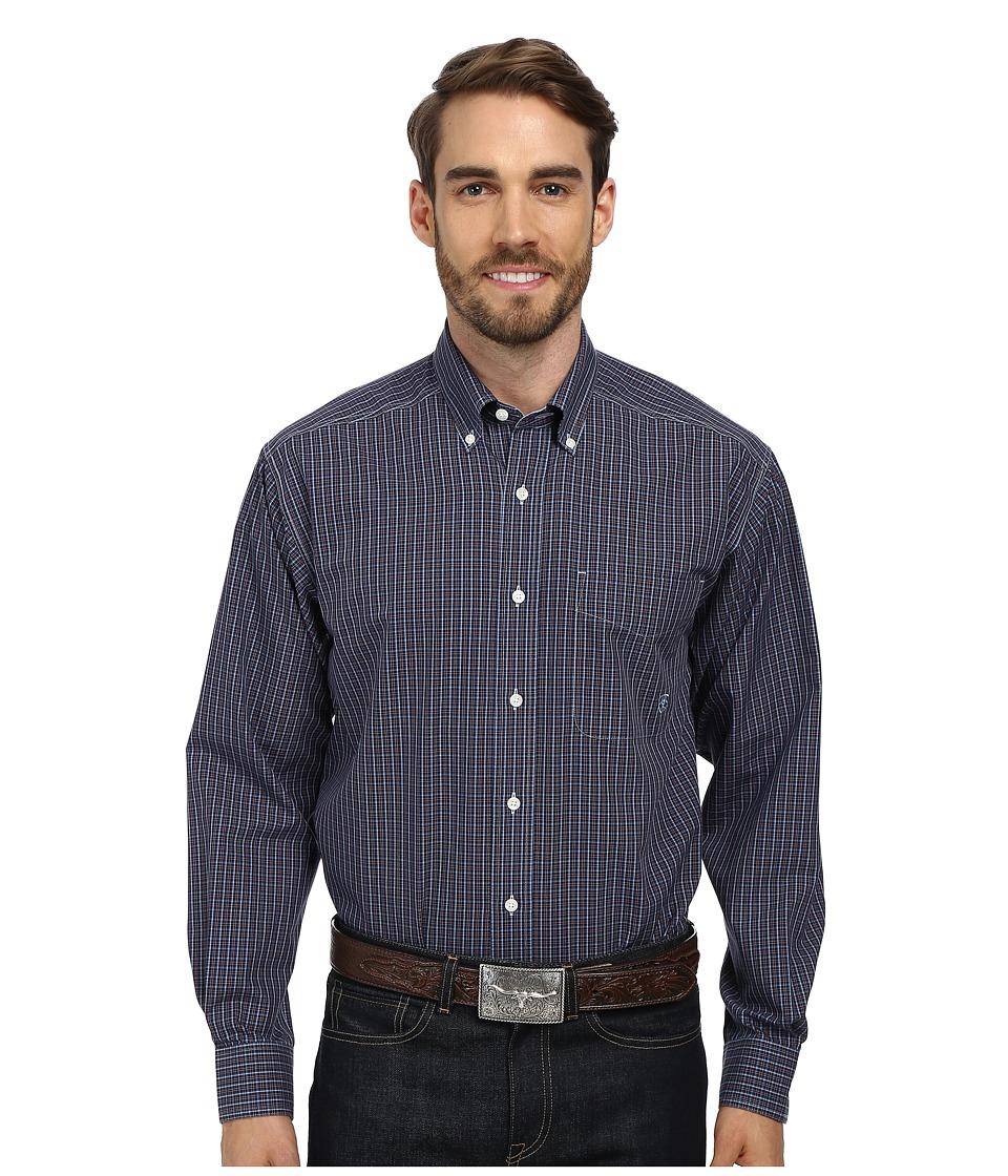 Ariat - Wrinkle Free Upton Shirt (Navy) Men's Long Sleeve Button Up