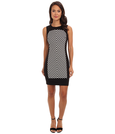 Apparel-Calvin Klein Mitred Stripe Ponte Sheath Dress (Black Ivory) Women's Dress