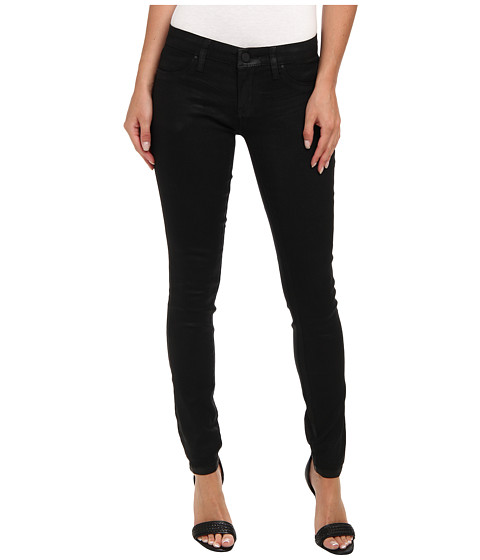 7 For All Mankind - Luxe Jeather Mid Rise Ankle Skinny in Black Jeather (Black Jeather) Women