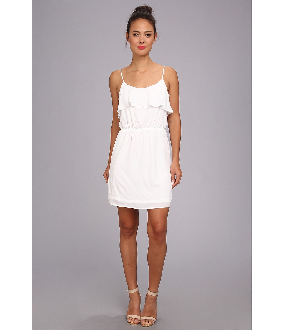 BCBGeneration - Ruffle Neck Dress (White) Women's Dress