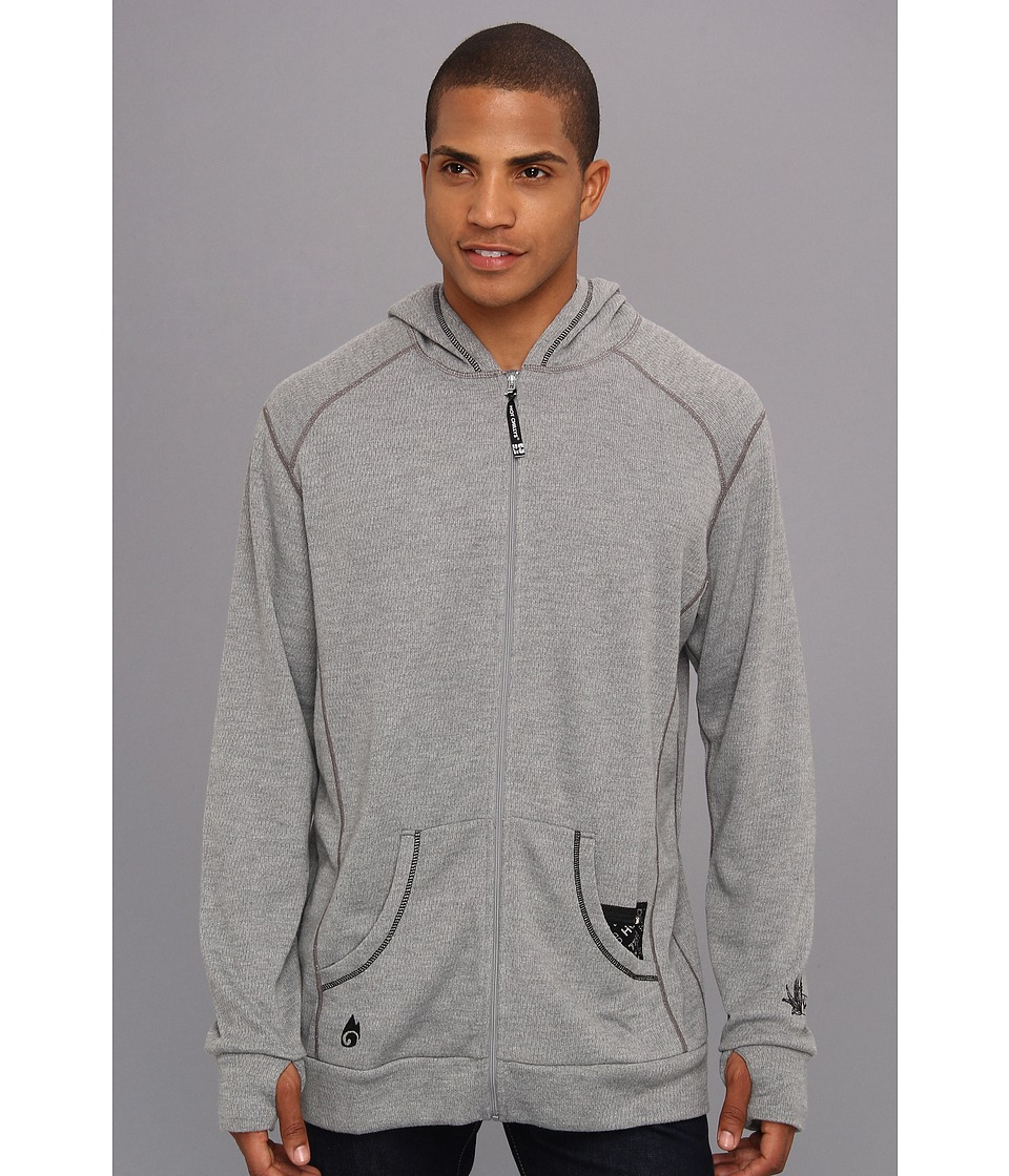 Hot Chillys - Pueblo Full Zip Hoodie (Grey Heather/Black) Men's Sweatshirt