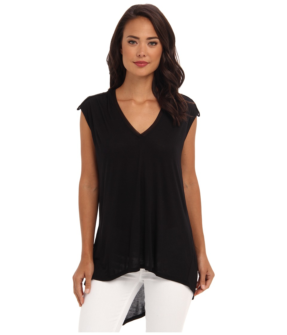 BCBGMAXAZRIA - Eniko Contrast Mesh Back Top (Black) Women's Short Sleeve Pullover