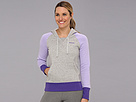 Reebok Fleece Brush Back Hoodie (Medium Grey Heather/Crisp Purple) Women's Fleece