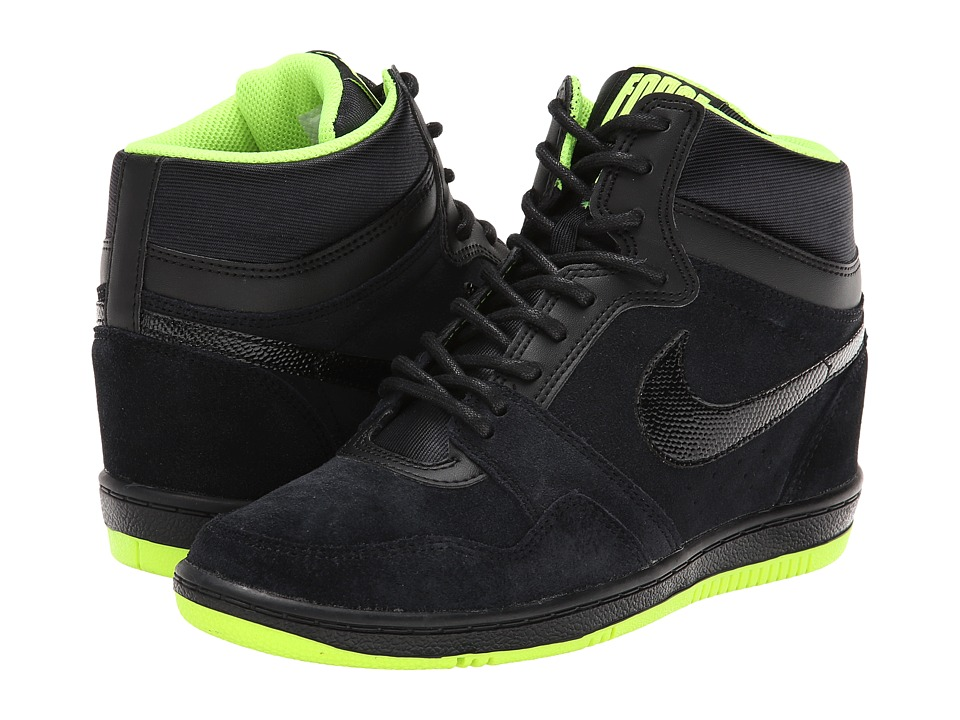 Nike - Force Sky High Sneaker Wedge (Black/Volt/Black) Women's Shoes