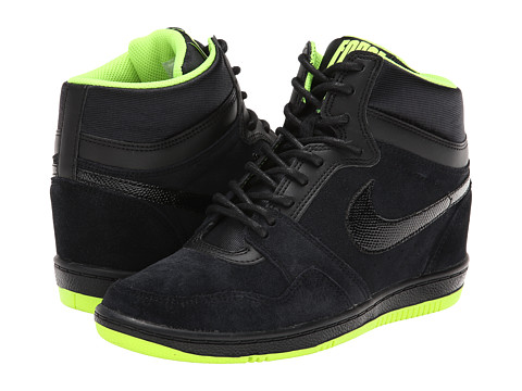 Nike - Force Sky High Sneaker Wedge (Black/Volt/Black) Women