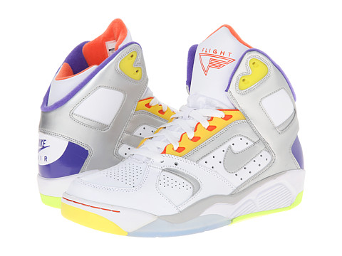 Nike - Air Flight Lite High (White/Hyper Grape/Hyper Crimson/Metallic Silver) Men's Shoes
