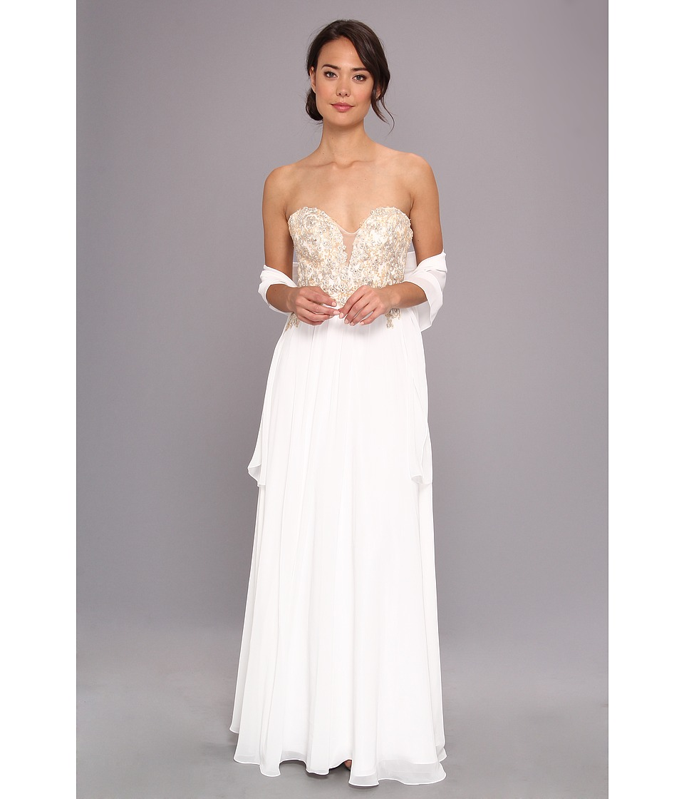 Faviana - Glamour Strapless Floral and Mesh Bodice Gown S7325 (Ivory) Women's Dress