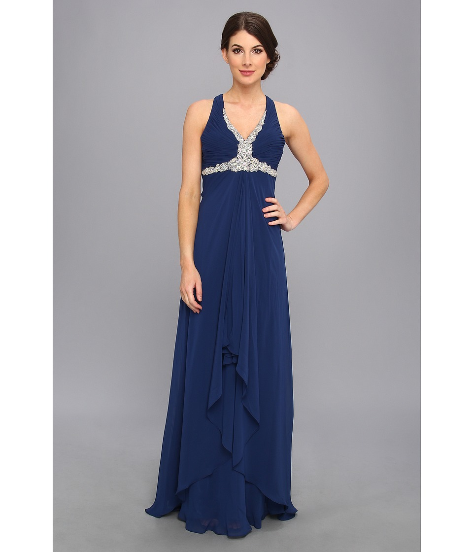 Faviana - Beaded Cross Back Chiffon Dress 6916 (Navy) Women's Dress