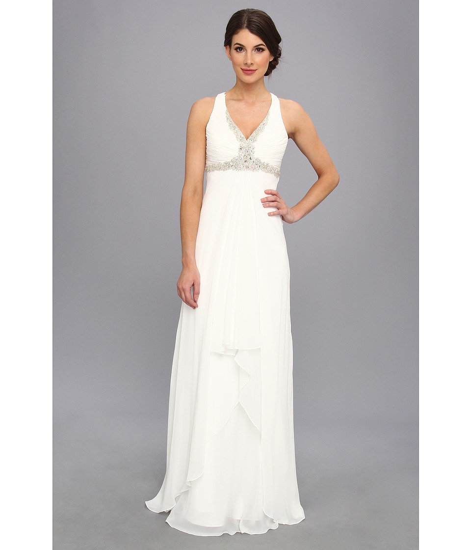 Faviana - Beaded Cross Back Chiffon Dress 6916 (Ivory) Women's Dress