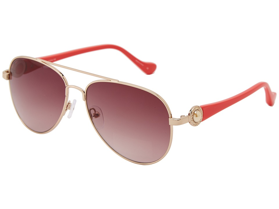 Ivanka Trump - Austrian Crystal Full Rim Aviator w/ Pearl (Gold/Coral) Fashion Sunglasses