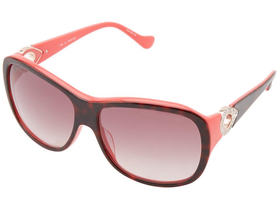 Ivanka Trump - Austrian Crystal Full Rim Square (Dark Tortoise/Coral) Fashion Sunglasses