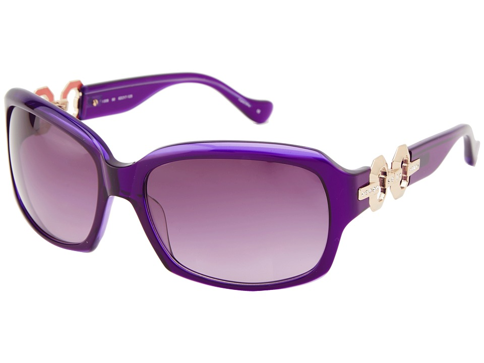 Ivanka Trump - Austrian Crystal Full Rim Rectangle (Purple) Fashion Sunglasses