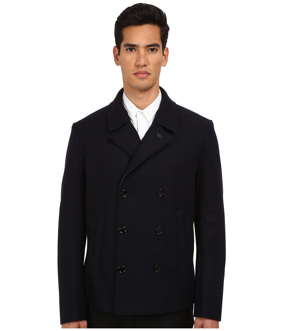 CoSTUME NATIONAL - Double Breasted Short Coat (Navy) Men