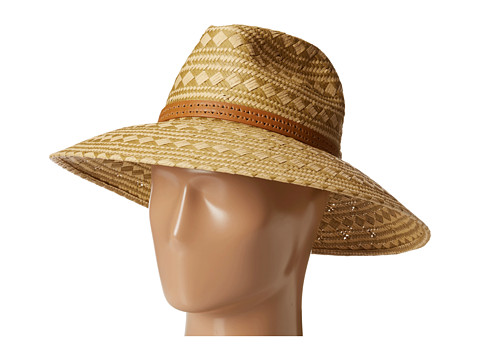 Vince Camuto - Patterned Weave Floppy w/ Perf Band (Amber Light) Caps