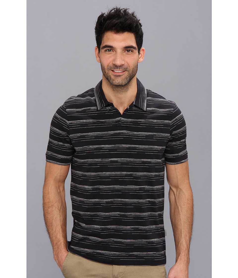 Perry Ellis - Short Sleeve Space Dye Open Polo (Black) Men's Short Sleeve Pullover