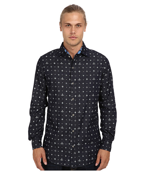 Vivienne Westwood MAN - Anglomania Three-Button Krall Shirt (Kimono Orb Print) Men's Long Sleeve Button Up