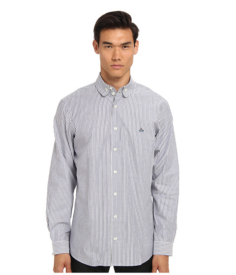 Vivienne Westwood MAN - Double Button Collar Striped Oxford (White/Navy) Men's Long Sleeve Button Up
