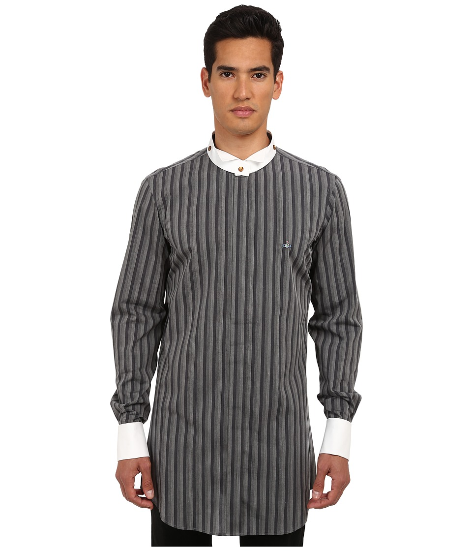 Vivienne Westwood MAN - Check Stripes Detachable Collar Button Up (Grey) Men