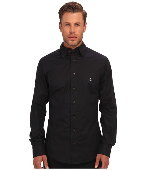 Vivienne Westwood MAN - Triple Button Collar Stretch Cotton Button Up (Black) Men's Long Sleeve Button Up