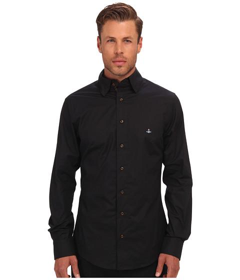 Vivienne Westwood MAN - Triple Button Collar Stretch Cotton Button Up (Black) Men's Long Sleeve Button Up