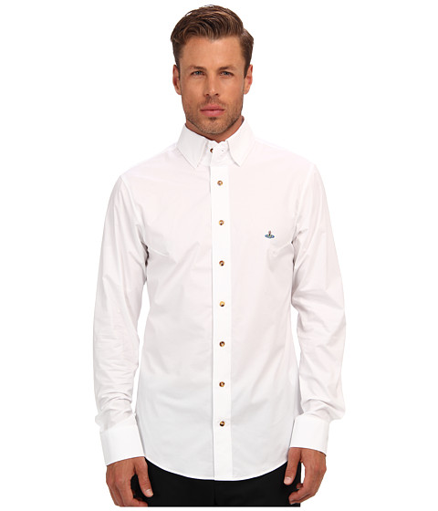 Vivienne Westwood MAN - Triple Button Collar Stretch Cotton Button Up (White) Men's Long Sleeve Button Up