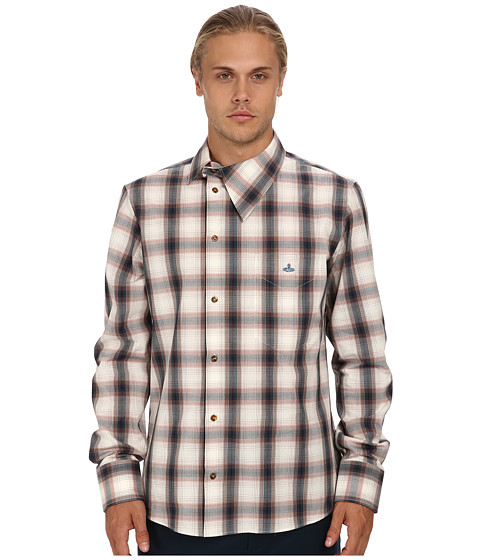 Vivienne Westwood MAN - RUNWAY Check Stripes Asymmetrical Button Up (Navy/Beige) Men's Long Sleeve Button Up