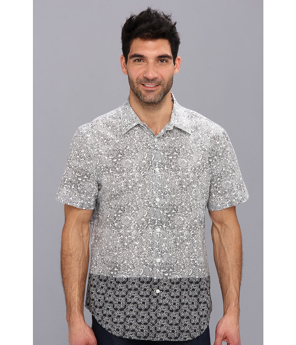 Perry Ellis - Short Sleeve Block Double Print Shirt (Black) Men's Short Sleeve Button Up