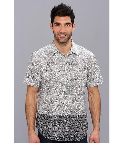 Perry Ellis - Short Sleeve Block Double Print Shirt (Black) Men's Short Sleeve Button Up