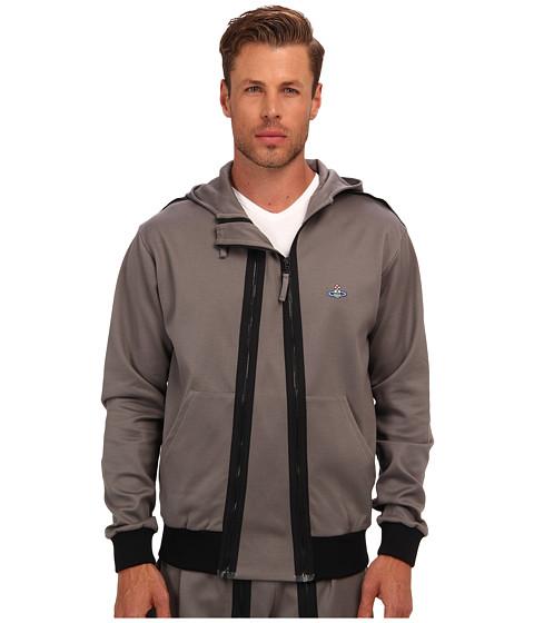 Vivienne Westwood MAN - RUNWAY Felpa Drill Hooded Track Jacket (Grey) Men