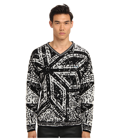 Vivienne Westwood MAN - Mosaic Jacquard Knit V-Neck Sweater (Black/White) Men's Long Sleeve Pullover