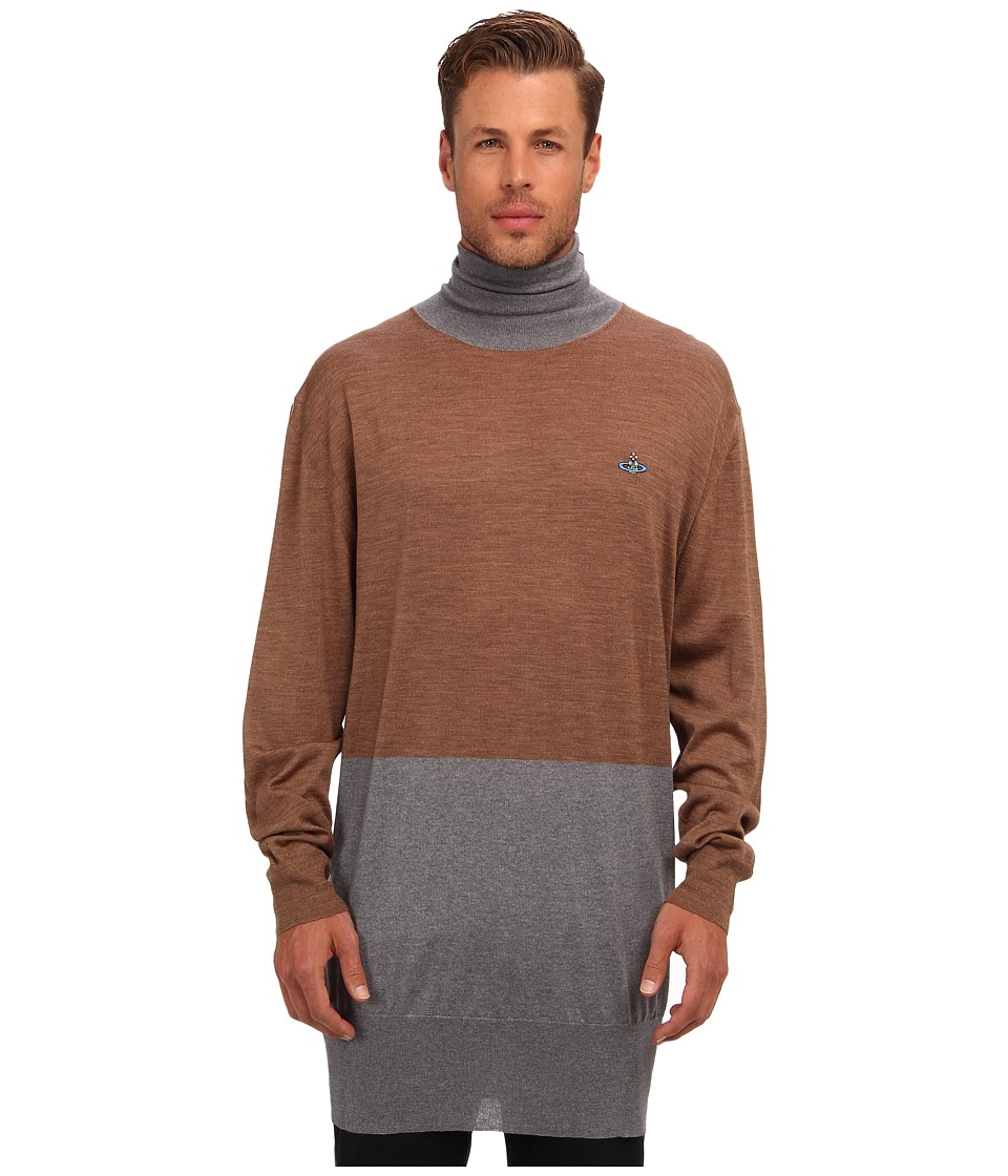 Vivienne Westwood MAN - RUNWAY Merino Colorblock Turtleneck (Grey/Camel) Men's Long Sleeve Pullover
