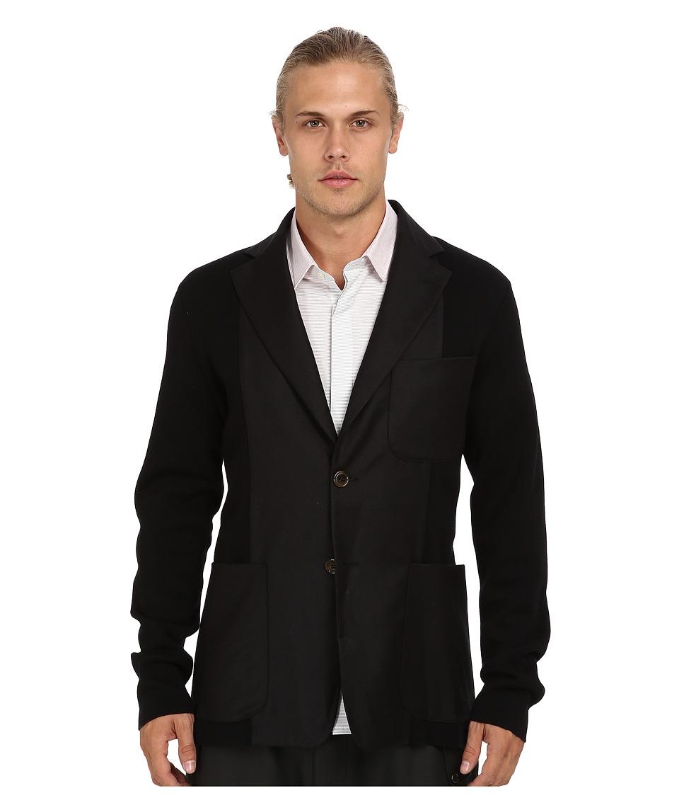 Vivienne Westwood MAN - Merino Flannel Knit Blazer (Black) Men's Jacket