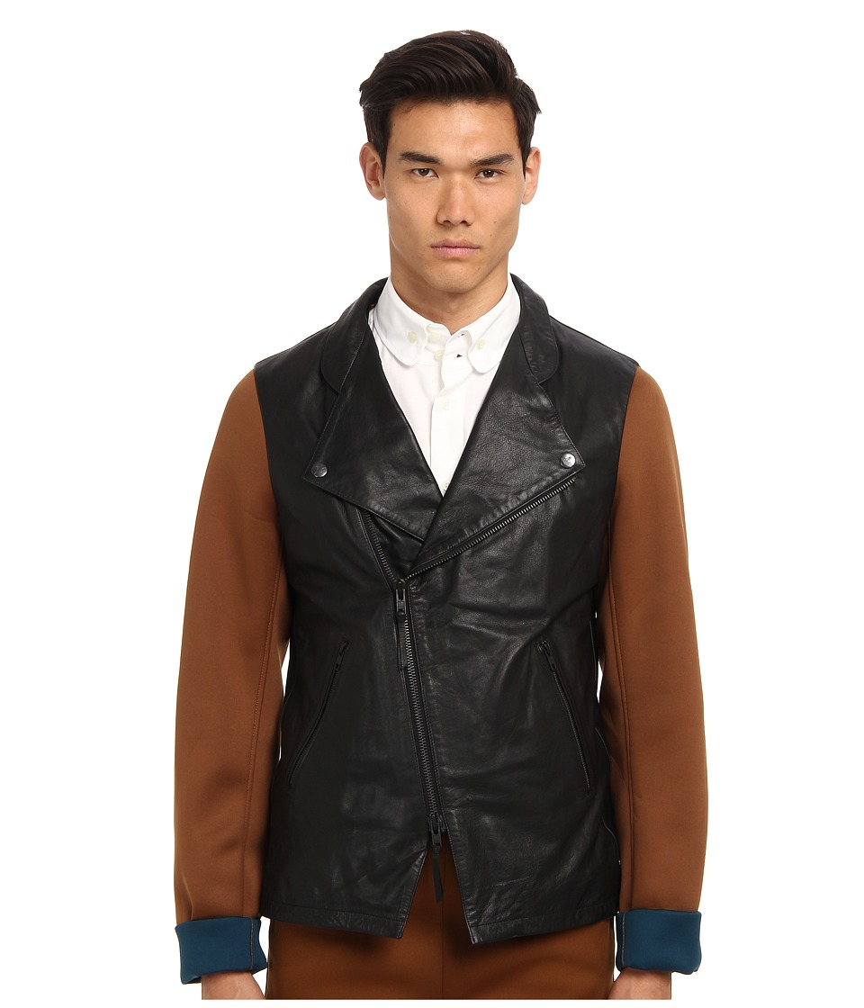 Vivienne Westwood MAN - Leather Moto Jacket (Black) Men's Coat