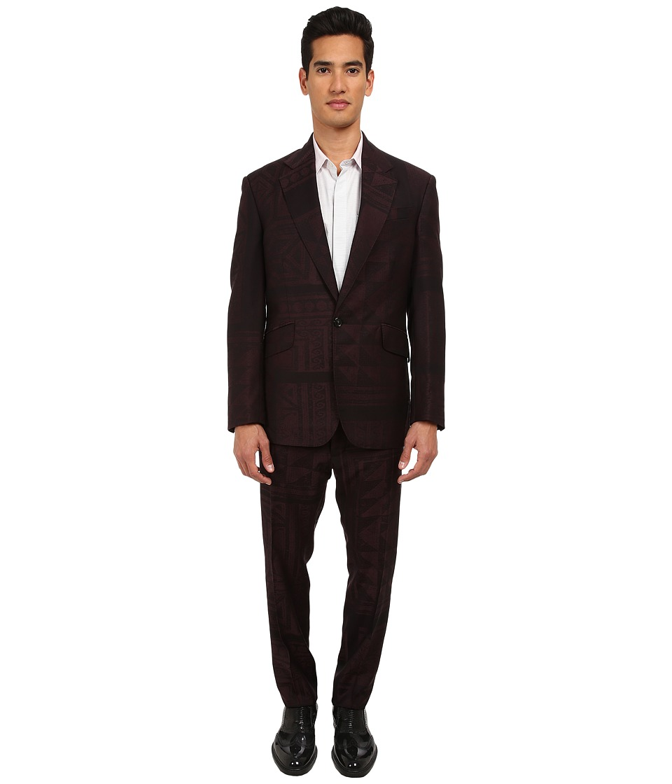 Vivienne Westwood - RUNWAY Mosaic Jacquard Regular Slim Suit (Bordezux/Black) Men's Suits Sets