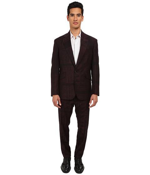 Vivienne Westwood MAN - RUNWAY Mosaic Jacquard Regular Slim Suit (Bordezux/Black) Men's Suits Sets