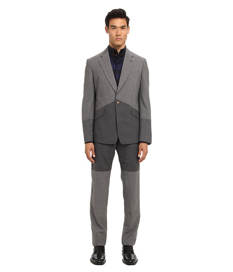 Vivienne Westwood MAN - RUNWAY Giant Gradient Stripes Slim Suit (Grey) Men's Suits Sets
