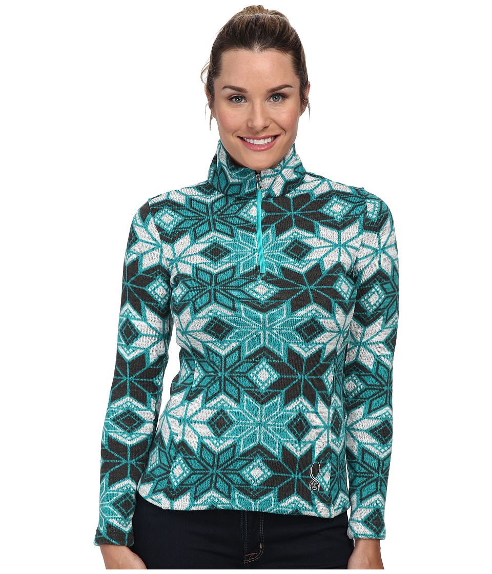 Spyder - Alpine Chic Fleece T-Neck Top (Robins Egg/Osetra/White) Women's Long Sleeve Pullover