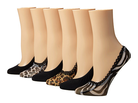 Steve Madden - 6 Pack Animal Print Mesh Footie (Black) Women's No Show Socks Shoes