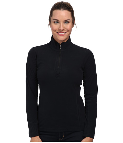 Spyder - Shimmer Bug Velour Fleece T-Neck Top (Black) Women's Long Sleeve Pullover