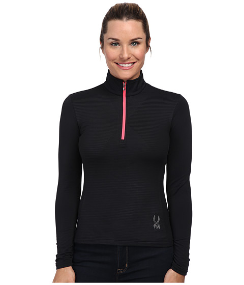 Spyder - Flicker Therma Stretch T-Neck Top (Black/Bryte Pink) Women's Long Sleeve Pullover