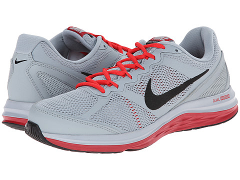 Nike - Dual Fusion Run 3 (Light Magnet Grey/Metallic Silver/Gym Red/Black) Men's Running Shoes