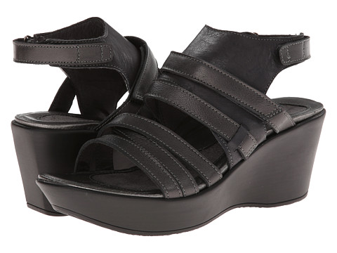 Naot Footwear - Prestige - Exclusive (Brushed Black/Metallic Road Leather) Women's Wedge Shoes