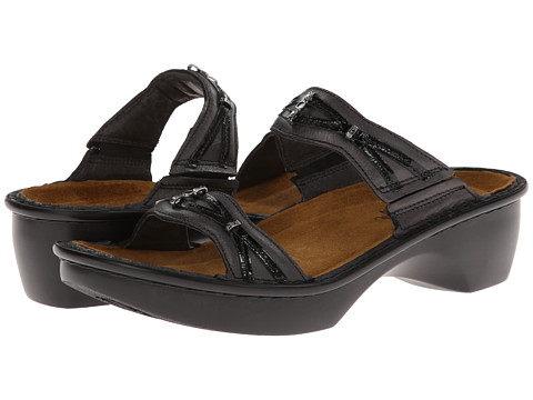 Naot Footwear - Marakesh - Exclusive (Black Patent/Metallic Road Leather) Women's Slide Shoes