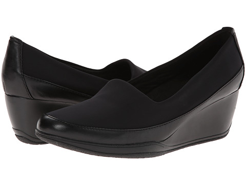 Clarks - Portrait Helen (Black Leather) Women's Wedge Shoes