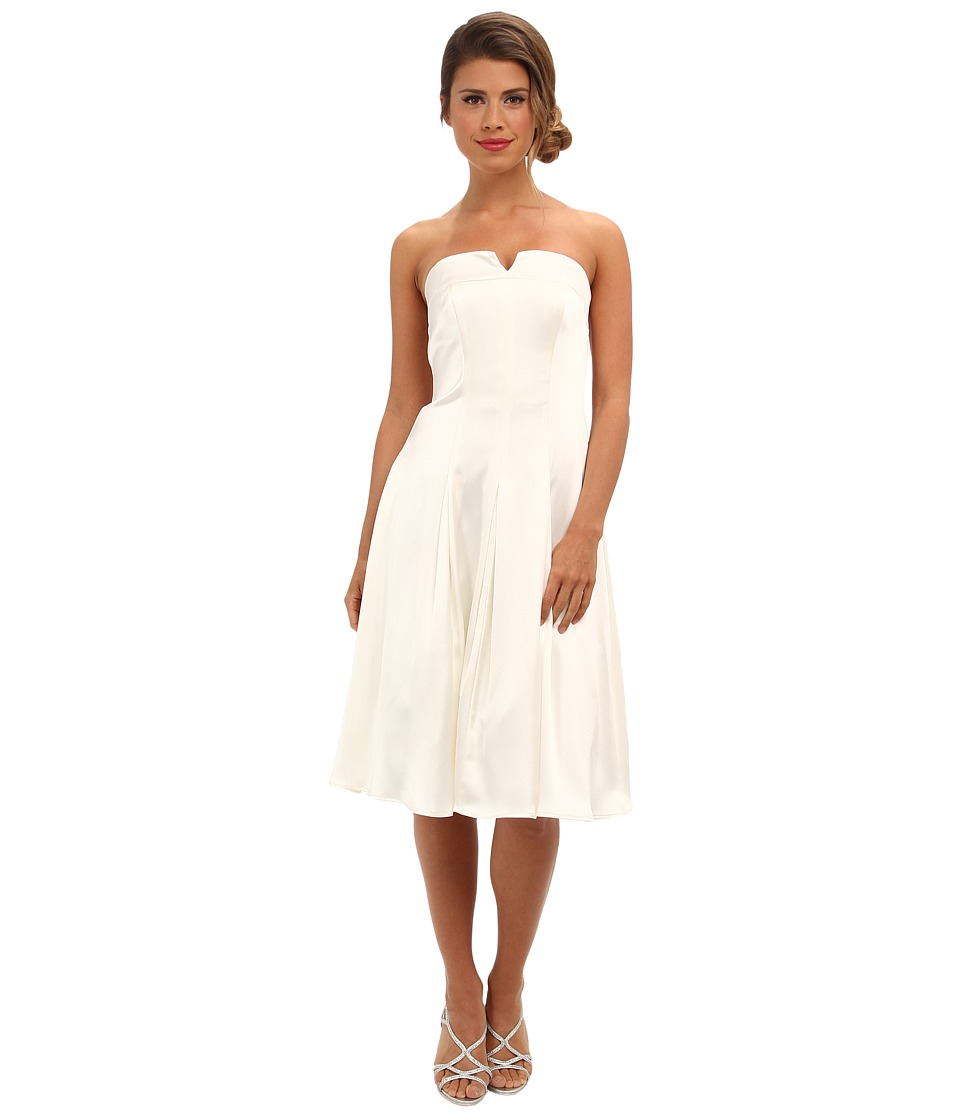 Image of ABS Allen Schwartz - Bustier Fitted Bodice Dress w/ Pleated Skirt (Ivory) Women's Dress