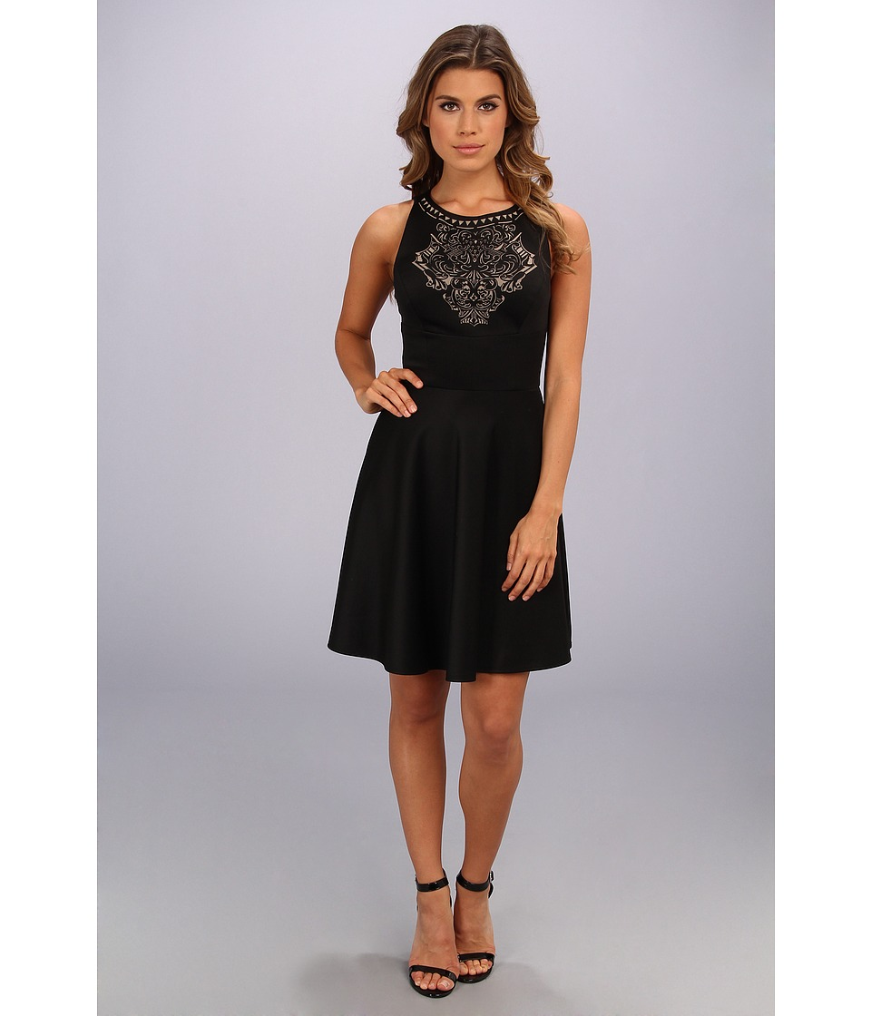 ABS Allen Schwartz - Fit and Flare Scuba w/ Laser Cut Detail (Black) Women's Dress
