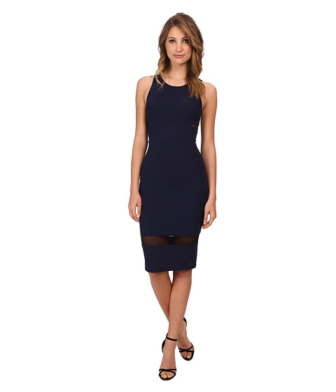 ABS Allen Schwartz - Bodycon Dress w/ Sheer Mesh Inserts (Navy) Women