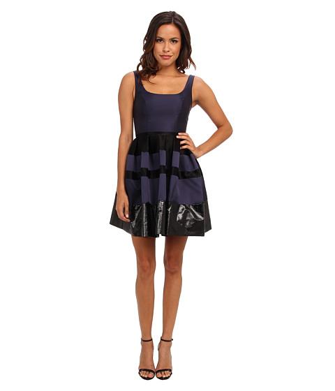 ABS Allen Schwartz - Poptical Jacquard Dress w/ Vegan Leather Trim (Teal/Black) Women