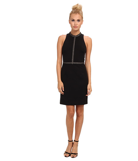 ABS Allen Schwartz - Body Con Dress w/ Chain-Trim Detail (Black) Women's Dress