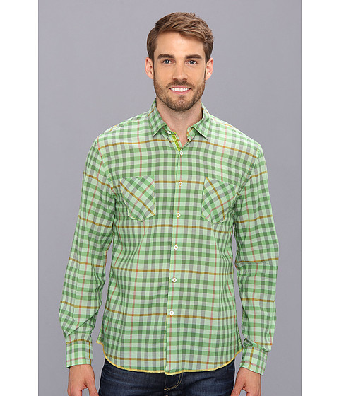 Arnold Zimberg - Double Pocket Long Sleeve Mini Plaid (Green) Men